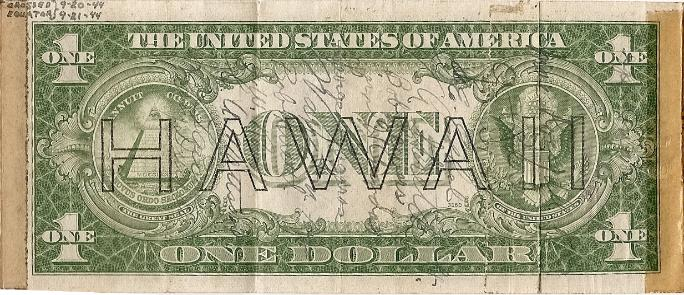 George J. Grimm Short Snorter Note #2: U.S. One Dollar HAWAII Silver Certificate - Series 1935A - Serial # L78366844C back