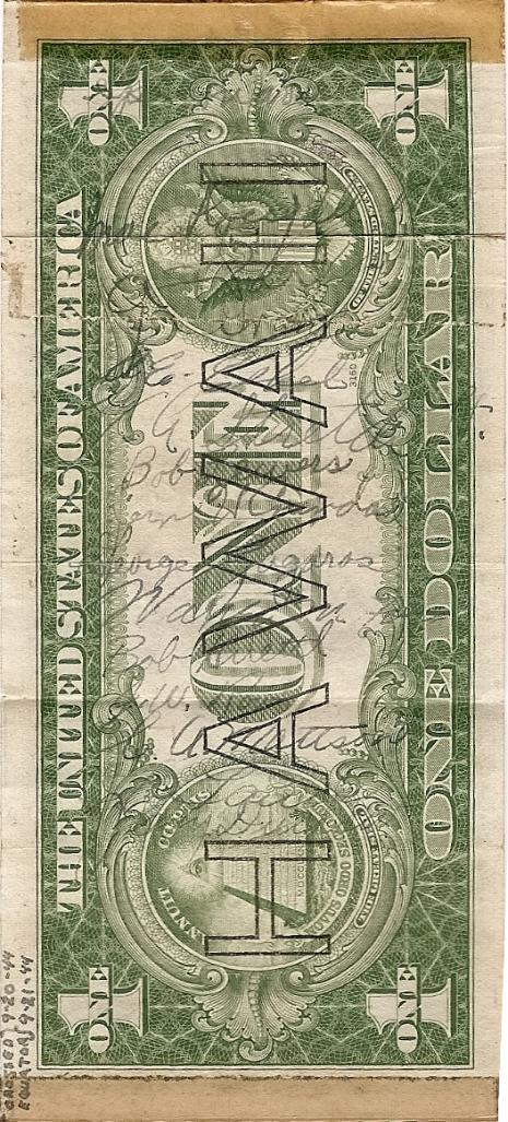 George J. Grimm Short Snorter Note #2: U.S. One Dollar HAWAII Silver Certificate - Series 1935A - Serial # L78366844C back vertical