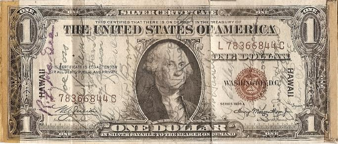 George J. Grimm Short Snorter Note #2: U.S. One Dollar HAWAII Silver Certificate - Series 1935A - Serial # L78366844C front