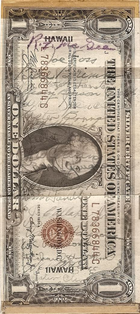 George J. Grimm Short Snorter Note #2: U.S. One Dollar HAWAII Silver Certificate - Series 1935A - Serial # L78366844C front vertical